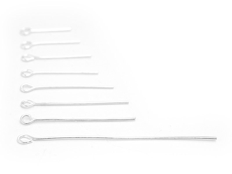 800 light silver-coloured eye pins - 8 different sizes