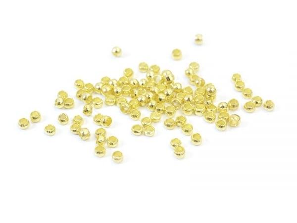 100 perles à écraser couleur or - 2 mm  - 1