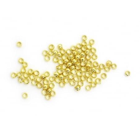100 perles à écraser couleur or - 2 mm  - 2