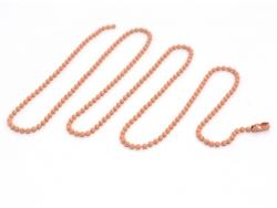 Pfirsichfarbene Kugelhalskette - 60 cm