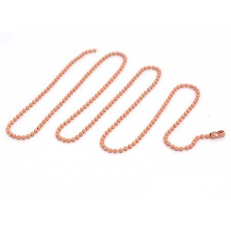 Collier chaine bille orange pêche - 60 cm
