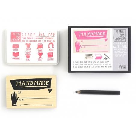 Tampon Gift Tag Handmade + Encreur rose + Crayon noir Yellow Owl Workshop - 2