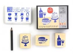 """3 Stempel """"Le Menu"""" + blaues Stempelkissen + schwarzer Stift"""