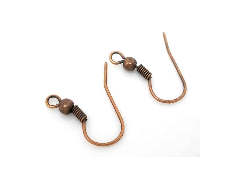 10 pairs of copper-coloured earrings