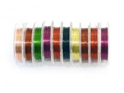 10 rouleaux de fil aluminium 0,3 mm - colorés