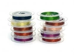 10 reels of aluminium wire, 0.3 mm - coloured