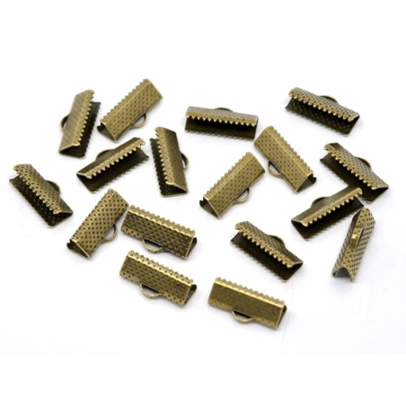 Ribbon crimp end for bias bindings, 16 mm - bronze-coloured