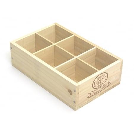 Acheter Caissette en bois La Petite Epicerie - 6 compartiments petit coté - 9,90€ en ligne sur La Petite Epicerie - 100% Loi...