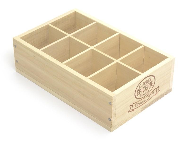 Caissette en bois La Petite Epicerie - 8 compartiments petit coté La petite épicerie - 1