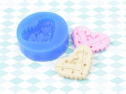 Moule en silicone - Biscuit coeur avec petit noeud