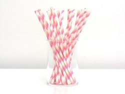 25 Pailles en papier - blanc à rayures rose et pêche