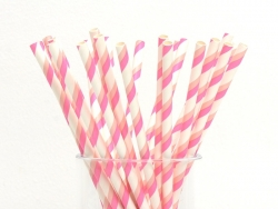 25 Papierstrohhalme - weiß mit rosa- und pfirsichfarbenen Streifen
