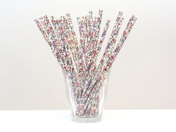 25 paper straws - White with flowers