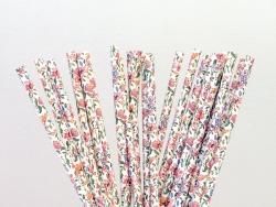 25 Pailles en papier - blanc à fleurs
