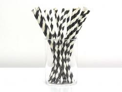 25 Papierstrohhalme - schwarze Zuckerstange