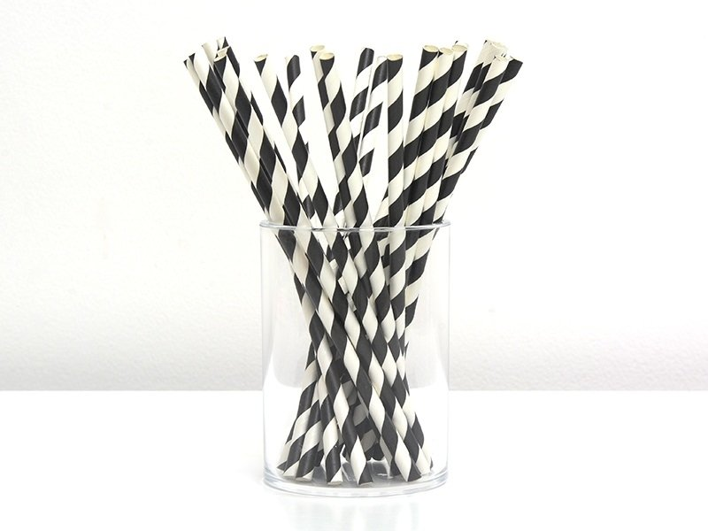 25 paper straws - Black candy cane