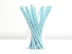 25 Pailles en papier - bleu clair étoiles blanches