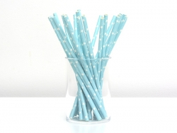 25 paper straws - Light blue with white stars