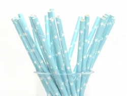 25 paper straws - Light blue with white stars