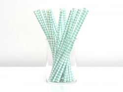 25 paper straws - White and sea-green checks