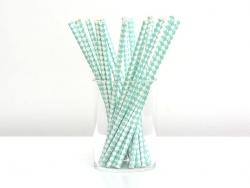25 Pailles en papier - carreaux blanc et vert d'eau