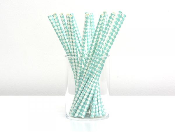 Acheter 25 Pailles en papier - carreaux blanc et vert d'eau - 4,50€ en ligne sur La Petite Epicerie - 100% Loisirs créatifs