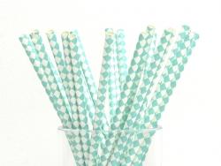 25 paper straws - White and sea-green checks