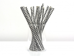 25 paper straws - Black and white checks