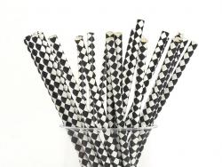 25 Papierstrohhalme - schwarz-weiße Karos