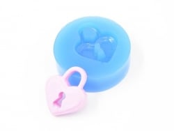 Silicone mould - heart-shaped padlock