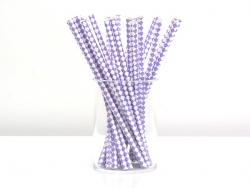 25 paper straws - White and mauve-coloured checks