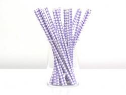 25 Papierstrohhalme - mauvefarben-weiße Karos