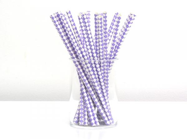 25 paper straws - White and mauve-coloured checks