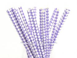 25 Pailles en papier - carreaux mauve et blanc