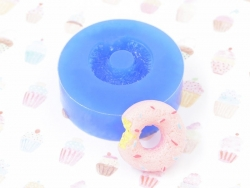 Silicone mould - nibbled-on doughnut with sprinkles