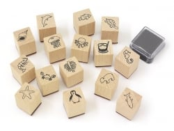 Zoo world stamp set (15 pcs) + 1 black ink pad