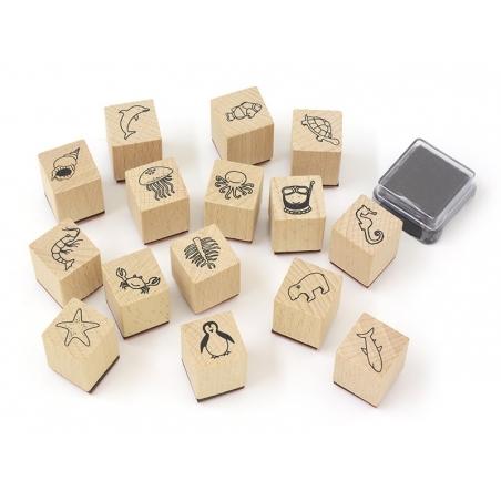 Kit 15 tampons Monde zoologique + 1 encreur noir Yellow Owl Workshop - 1