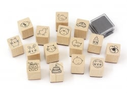 Baby stamp kit (15 pcs) + black ink pad