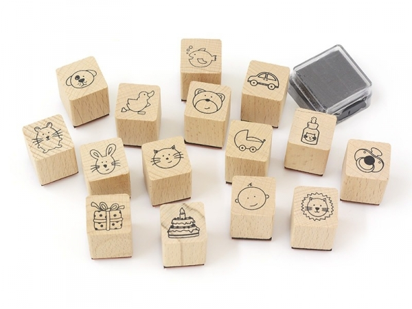 Acheter Kit 15 tampons Bébé + 1 encreur noir - 8,40€ en ligne sur La Petite Epicerie - 100% Loisirs créatifs