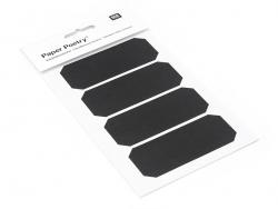 4 étiquettes rectangulaires tronquées - Ardoise