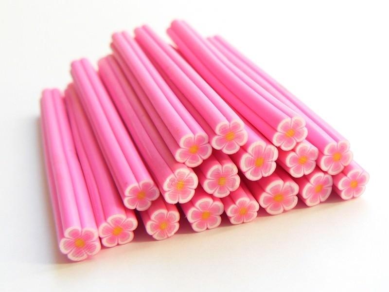 Cane paquerette rose en pâte fimo - à découper en tranches  - 1