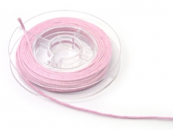Small reel with waxed cotton thread, 1 mm x 5 m - pink