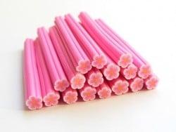 Cane paquerette rose en pâte fimo - à découper en tranches  - 2