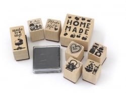"""Home-made / Fruit"" stamp kit (8 pcs) + 1 black ink pad"