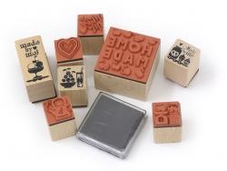 """Home-made / Fruit"" stamp kit (8 pcs) + 1 black ink pad"