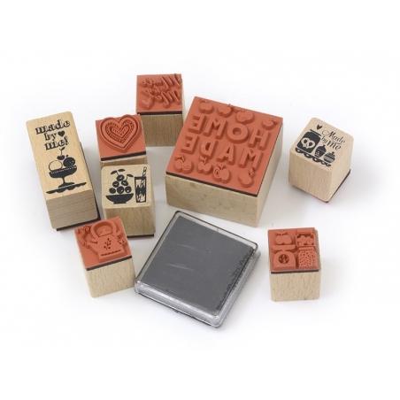 """Kit 8 tampons """"fait maison"""" fruits + 1 encreur noir Yellow Owl Workshop - 3"""