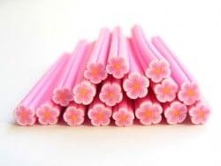Cane paquerette rose en pâte fimo - à découper en tranches  - 3