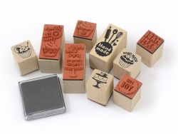 """Home-made / Sweets"" stamp kit (9 pcs) + 1 black ink pad"