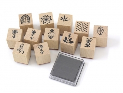 Flower stamp kit (12 pcs) + black ink pad