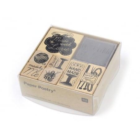 """Kit 7 tampons """"fait maison"""" couture + 1 encreur noir Yellow Owl Workshop - 1"""